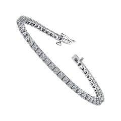 3.90 Carat Total Round Diamond 4 Prong Tennis Bracelet in 14 Karat White Gold