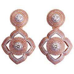 3.90 Carat Vivid Pink Diamond and 4.10 Carat White Diamond Rose Gold Earrings