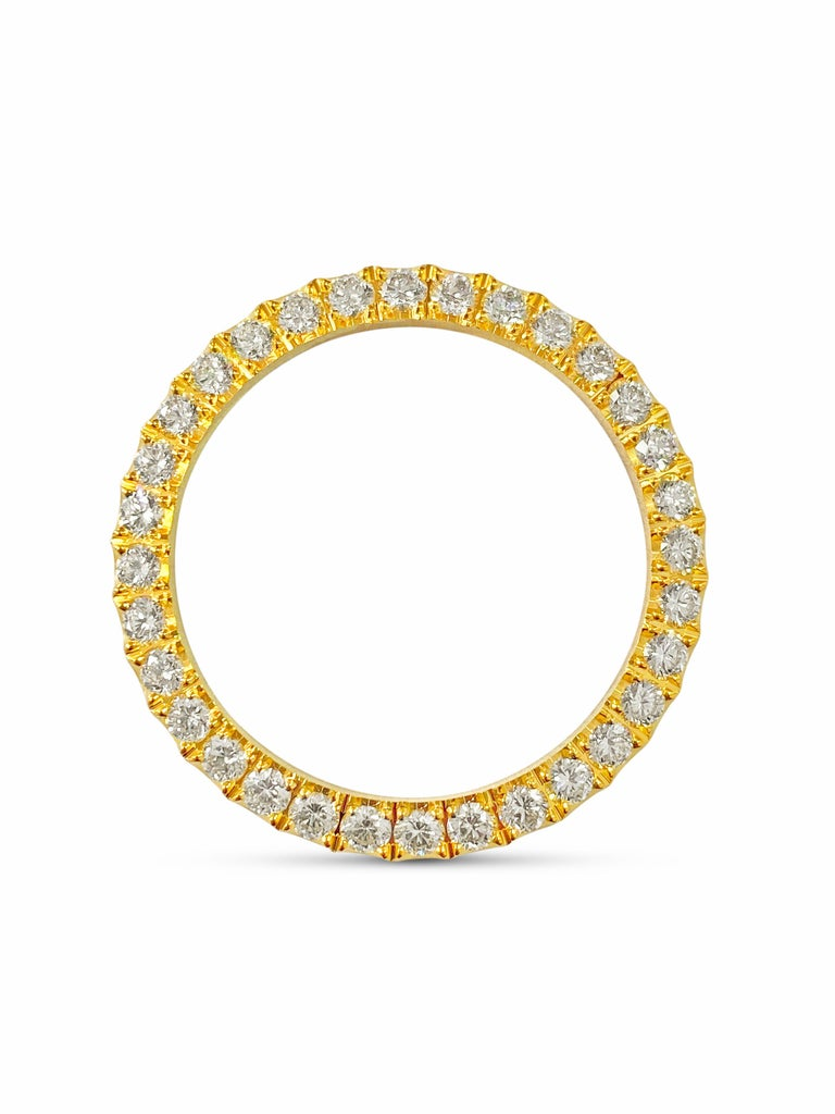 Metal: 14k yellow gold.   Diamonds: 3.90cwt.  VVS clarity and H color.  Round brilliant cut diamonds. 100% natural earth mined diamonds.   36mm watch bezel. Perfect for Rolex Datejust Oyster Perpetual.