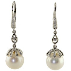 Australian Pearl Diamond Gold Earrings