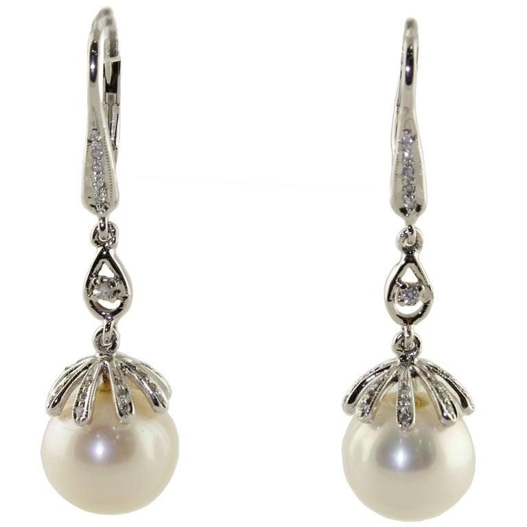 Australian Pearl Diamond Gold Earrings