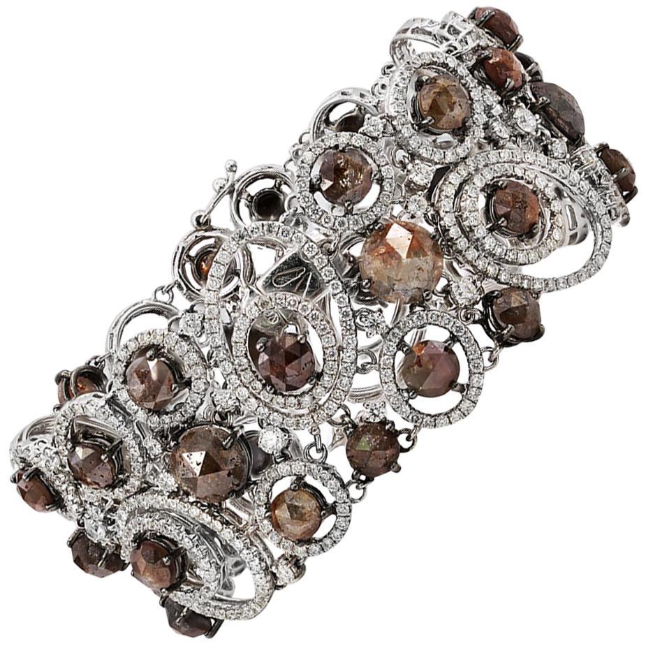 39.00 Carat Rough Cut Diamond Bracelet