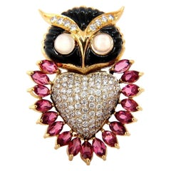 3.90CT Natural Tourmaline Diamonds Moonstone Black Onyx 3D Owl Brooch Pin 18KT