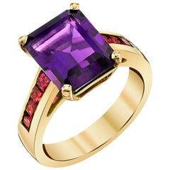 3.91 Carat Amethyst and Channel Set Pink Spinel 18 Karat Yellow Gold Band Ring
