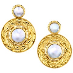 3.91 ct. t.w. Moonstone Cabochon & 18k Yellow Gold Bezel Set Stud Post Earrings