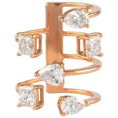 3.91 Carat Floating Diamonds Ring 18 Karat Rose Gold