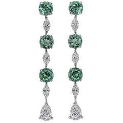 3.91 Carat Green Tourmaline and Diamond Drop Earrings