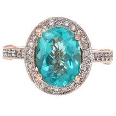 3.91 Carat Oval Cut Apatite Diamond 14 Karat Rose Gold Ring