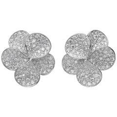 3.91 Carat Pave White Diamond 18 Karat White Gold Petal Stud Earrings