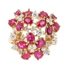 3.91 Carat Ruby Diamond 18 Karat Yellow Gold Cocktail Ring