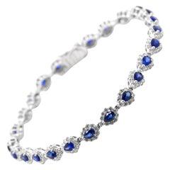 3.91 Carats, Natural Sapphire and Diamond Tennis Bracelet Set in Platinum