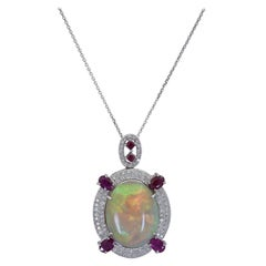 39.14 Carat Opal, Ruby, and Diamond Pendant Necklace