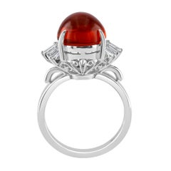 3.92 Carat Mexican Fire Opal Cabochon Ring Set in Platinum