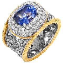 3.92 Carat No Heat Blue Sapphire and Diamond Two-Tone Gold Ring Stambolian