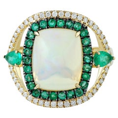 3.92 Carat Opal Emerald 18 Karat Gold Diamond Ring