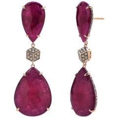 39.24 Carat Ruby and 1.20 Carat Champagne Diamond Earrings in 18 Karat Rose Gold