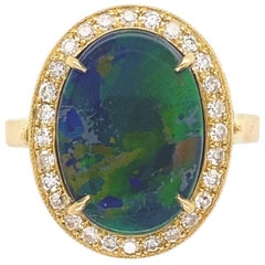3.93 Carat Black Opal and Diamond Gold Cocktail Ring Estate Fine Jewelry