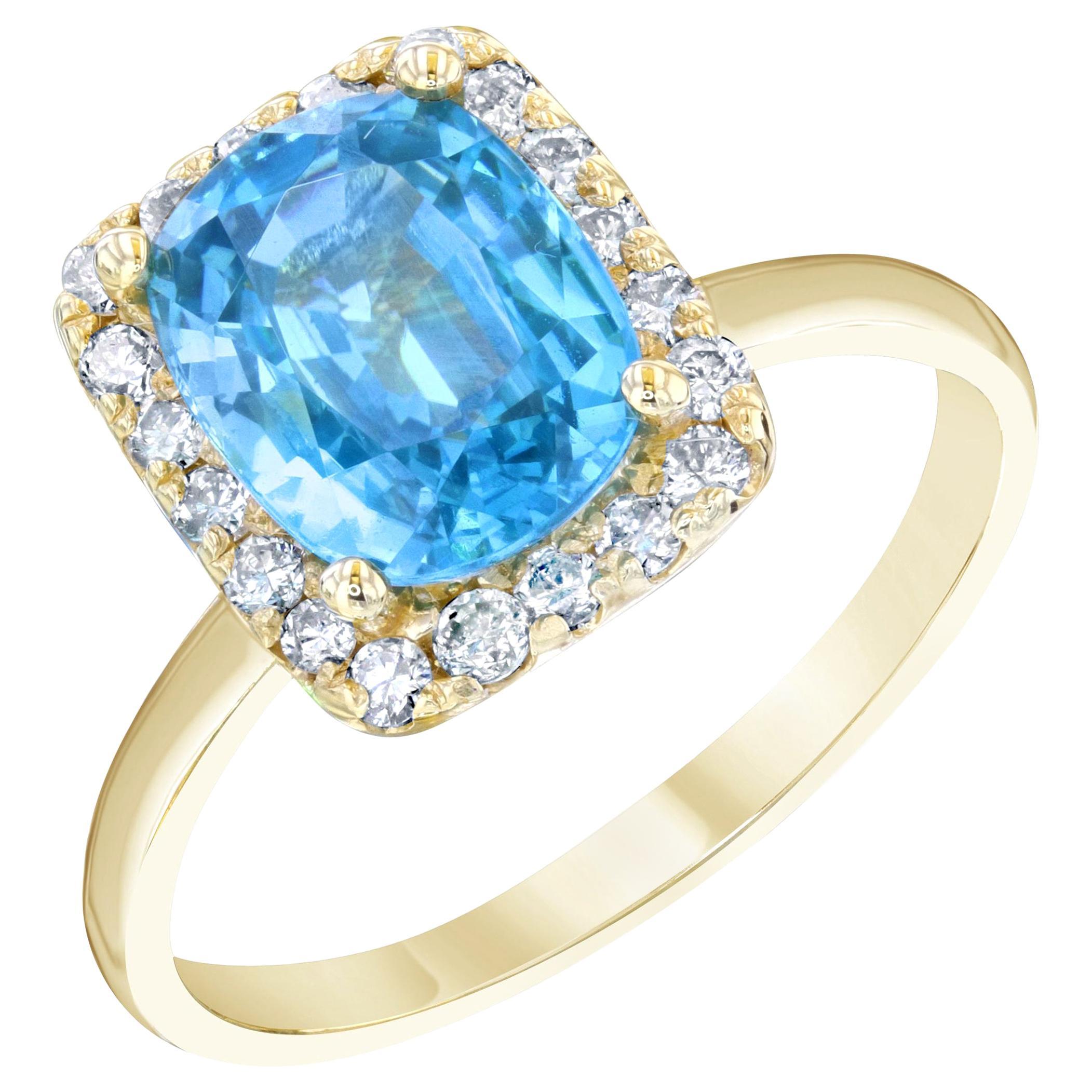3.93 Carat Blue Zircon Diamond 14 Karat Cocktail Ring