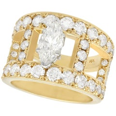 3.93 Carat Diamond and Yellow Gold Cocktail Ring