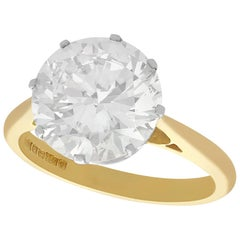 3.93 Carat Diamond and Yellow Gold Solitaire Ring