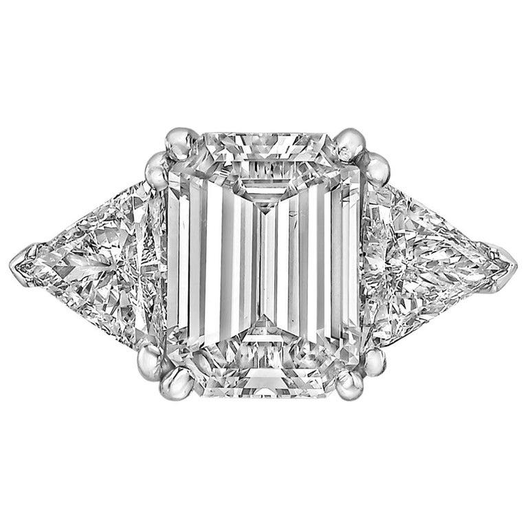 3.93 Carat Emerald-Cut Diamond Engagement Ring For Sale