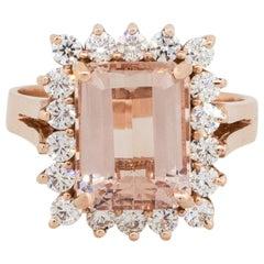 3.93 Carat Emerald Cut Morganite Diamond Halo Ring 14 Karat in Stock