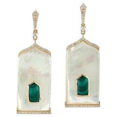 3.93 Carat Malachite Mother of Pearl Diamond 18 Karat Gold Earrings