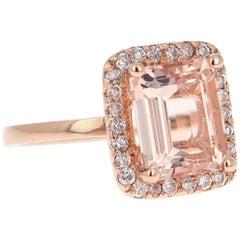 3.93 Carat Morganite Diamond 14 Karat Rose Gold Cocktail Ring