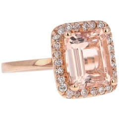 3.93 Carat Morganite Diamond 14 Karat Rose Gold Cocktail Ring