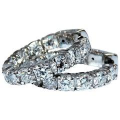 3.93 Carat Natural Diamond Hoop Earrings 14 Karat