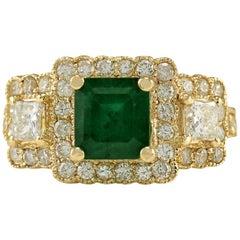 3.93 Carat Natural Emerald 18 Karat Yellow Gold Diamond Ring