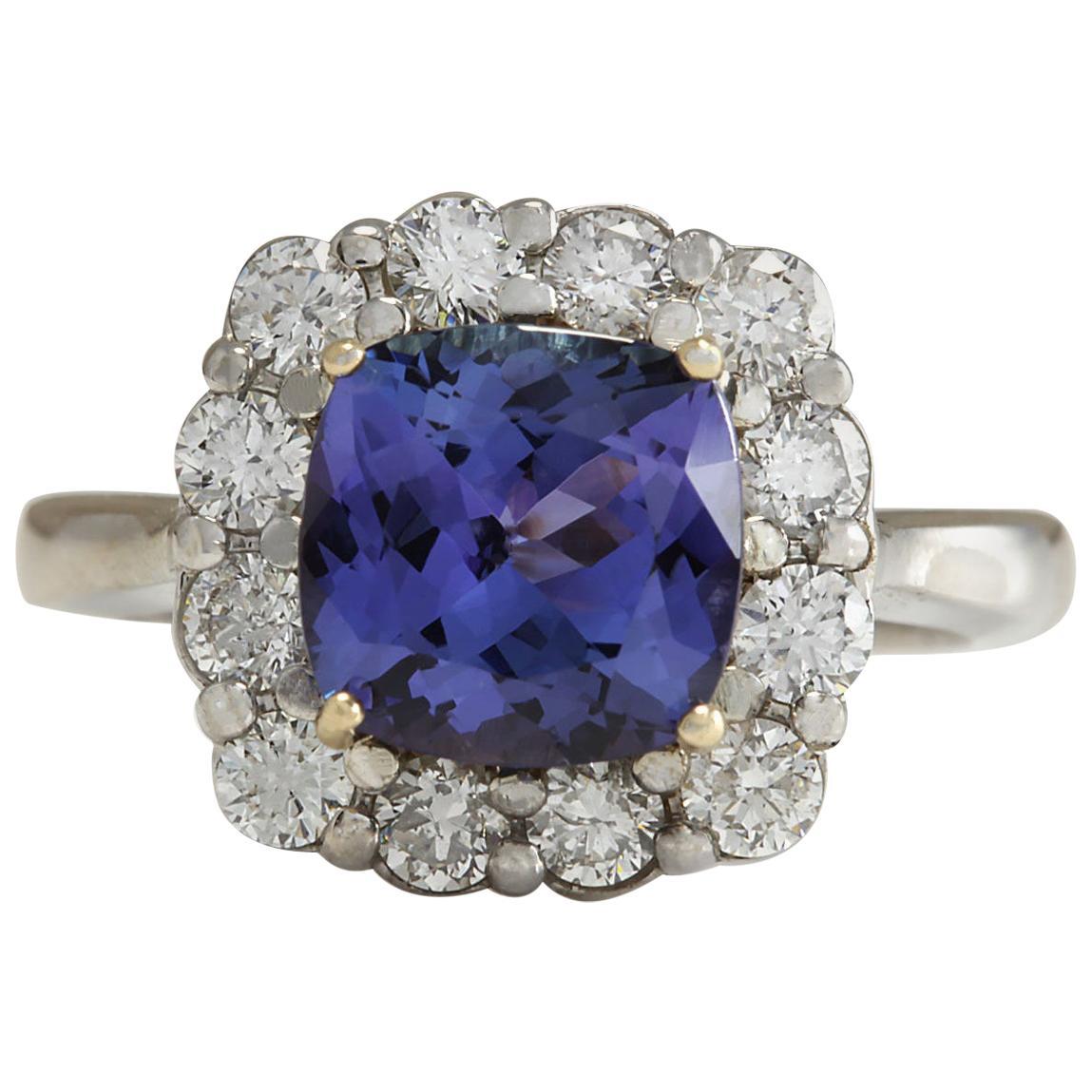 3.93 Carat Natural Tanzanite 18 Karat White Gold Diamond Ring
