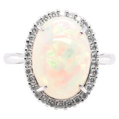 3.93 Carat Natural White Opal and Diamond Ring Set in Platinum