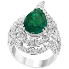 3.93 Carat Pear Colombian Emerald and Diamond 18 Karat White Gold Ring Estate