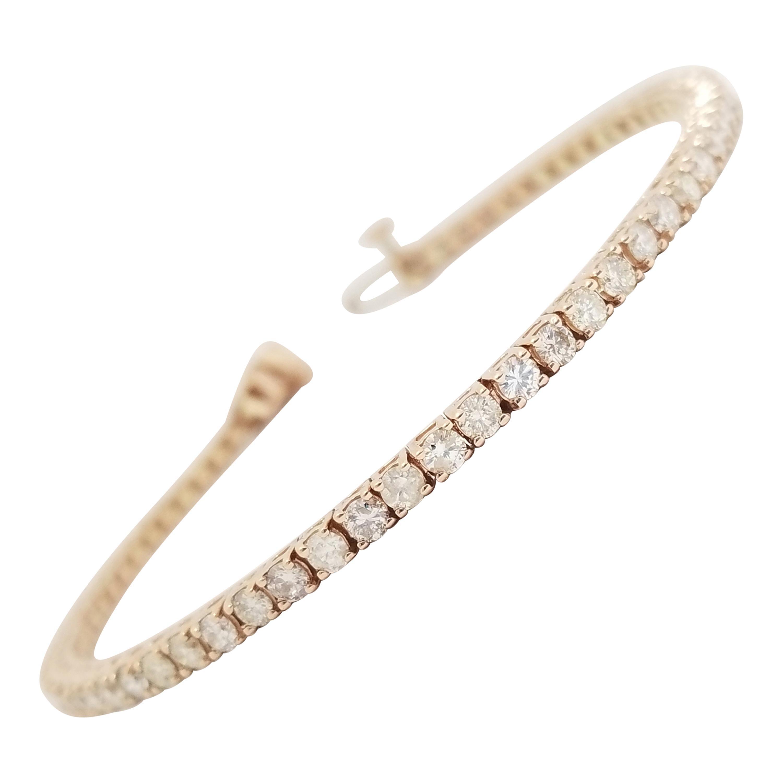 3.93 Carat Round Brilliant Cut Diamond Tennis Bracelet 14 Karat Rose Gold