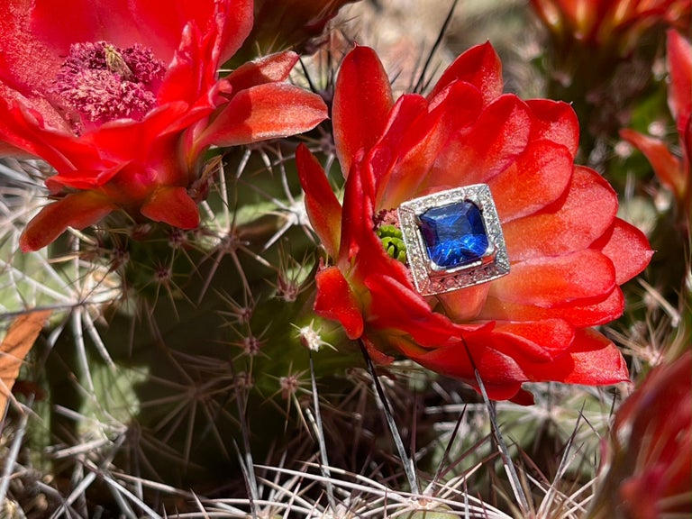 Modern 3.93 Carat Tanzanite and Diamond Gold Ring For Sale