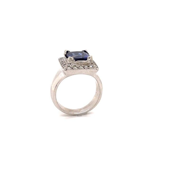 Asscher Cut 3.93 Carat Tanzanite and Diamond Gold Ring For Sale