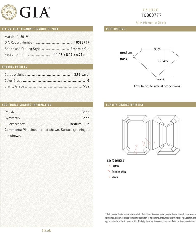Emerald Cut 3.93 Carat Emerald-Cut Diamond Engagement Ring For Sale