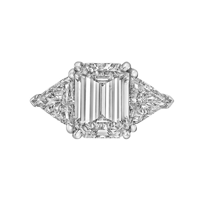 3.93 Carat Emerald-Cut Diamond Engagement Ring In Excellent Condition For Sale In Greenwich, CT