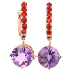 3.94 Carat Amethyst Fire Opal 14 Karat Rose Gold Drop Earrings