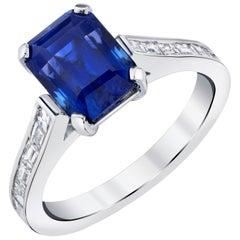 3.94 Carat Blue Sapphire Diamond 18 Karat White Gold Ring