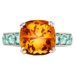3.94 Carat Citrine Cushion Mint Green Tourmaline Cocktail Ring Natalie Barney