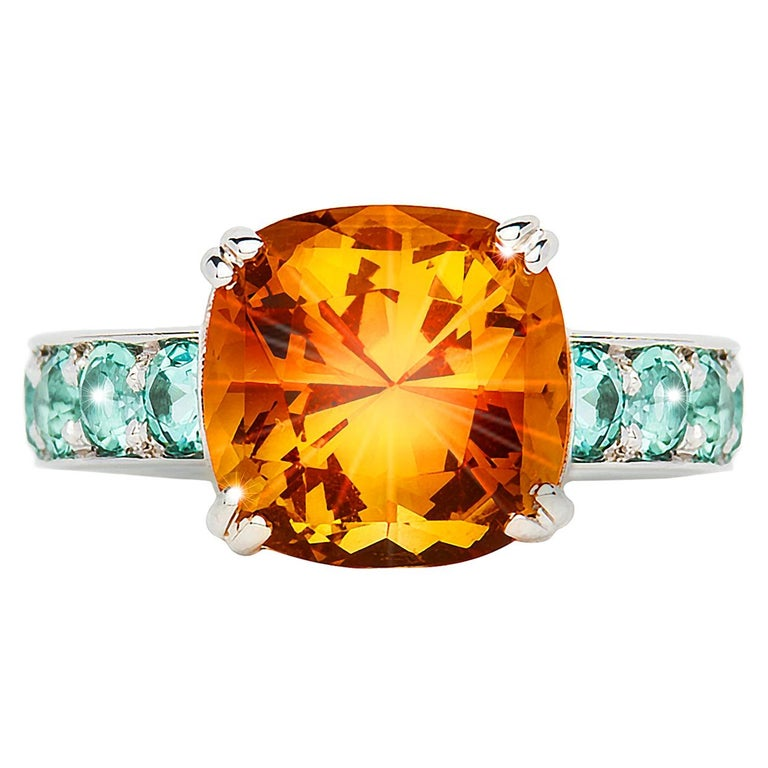 3.94 Carat Citrine Cushion Mint Green Tourmaline Cocktail Ring Natalie Barney For Sale