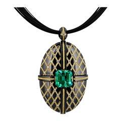 3.94 Carat Colombian Emerald Modern Pendant by Zoltan David