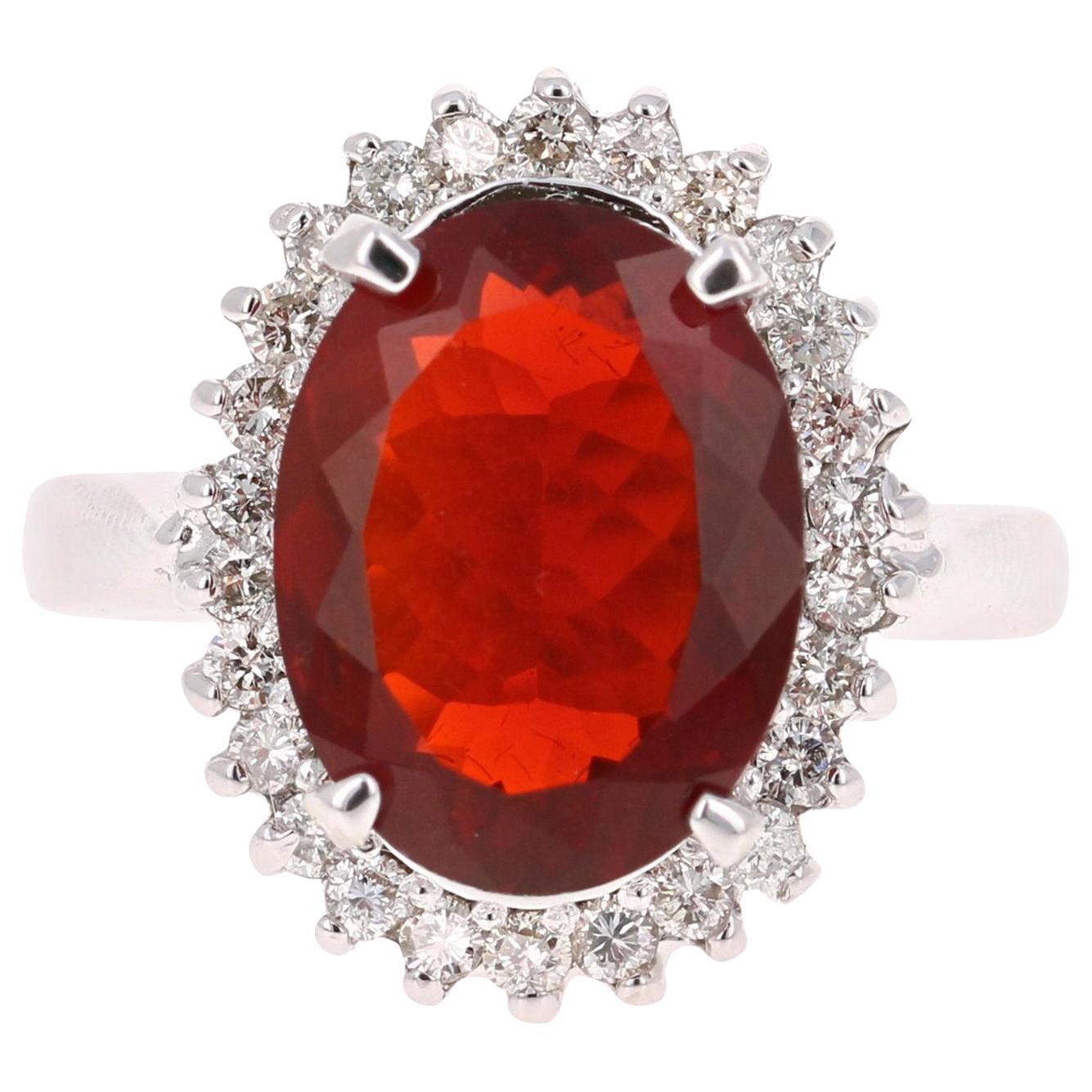 3.94 Carat Fire Opal Diamond 14 Karat White Gold Ring