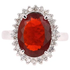 3.94 Carat Fire Opal Diamond 14 Karat White Gold Ring