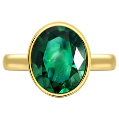 3.94 Carat Intense Green Zambian Emerald 18 Karat Yellow Gold Ring