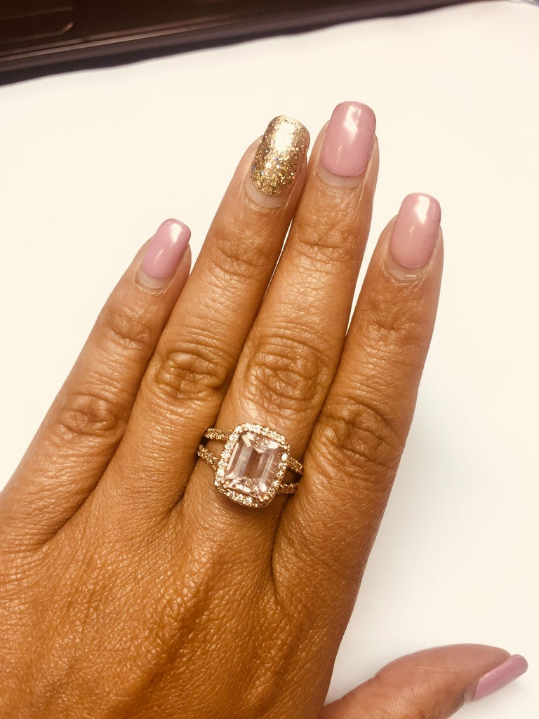 Emerald Cut 3.94 Carat Morganite Diamond Rose Gold Engagement Ring
