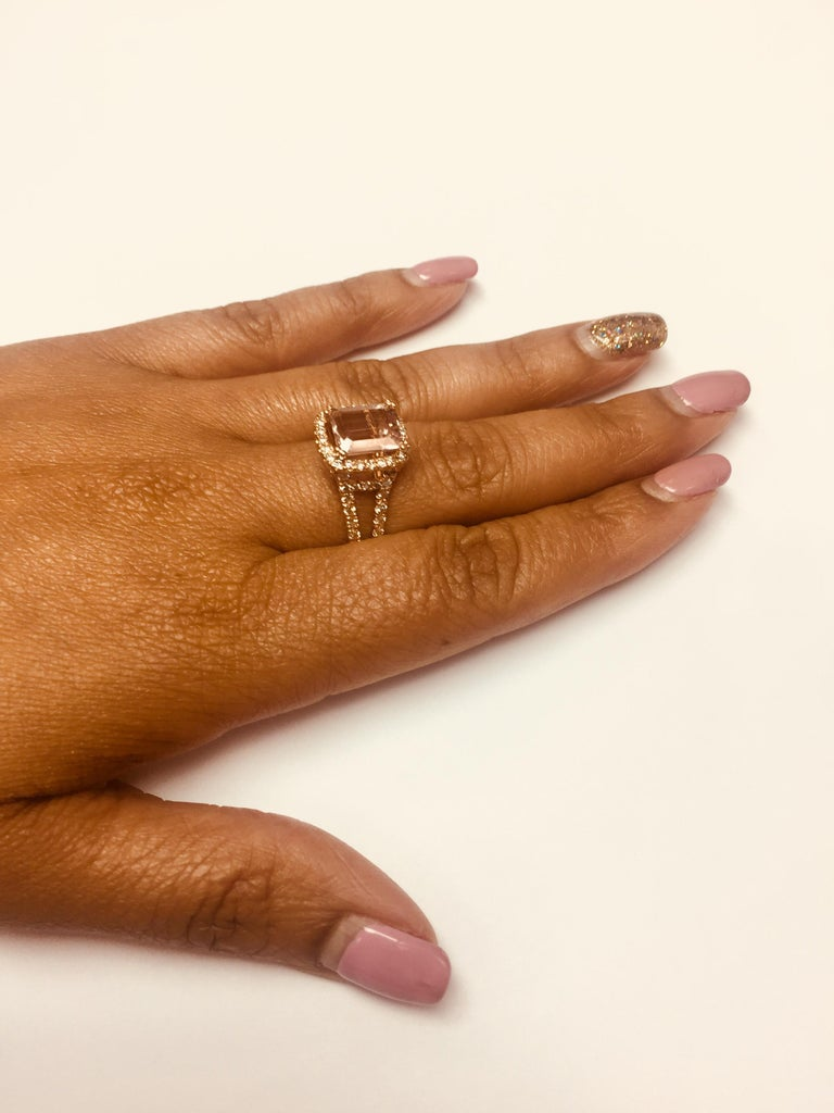 3.94 Carat Morganite Diamond Rose Gold Engagement Ring In New Condition In San Dimas, CA