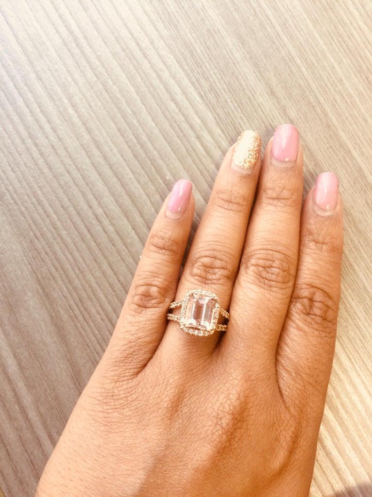 Women's 3.94 Carat Morganite Diamond Rose Gold Engagement Ring